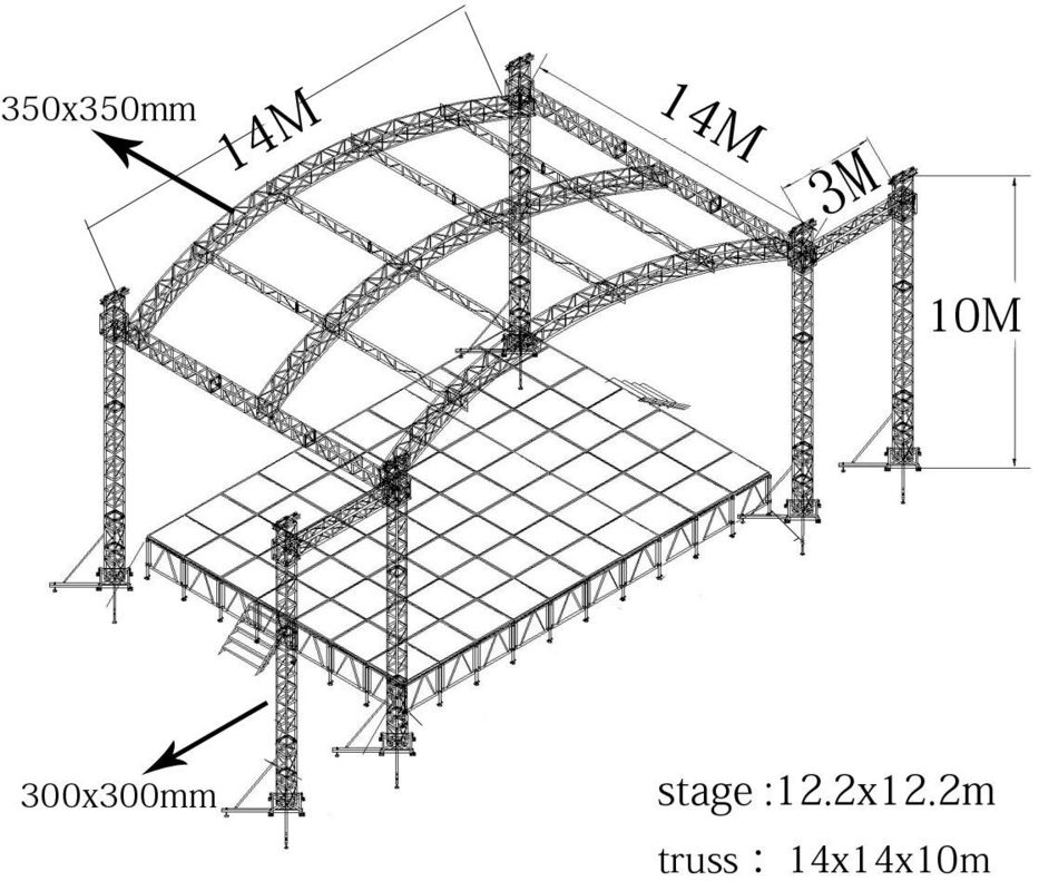 Hang Speaker Aluminum Stage Truss Have Roof And With Wing 300mm X 300mm